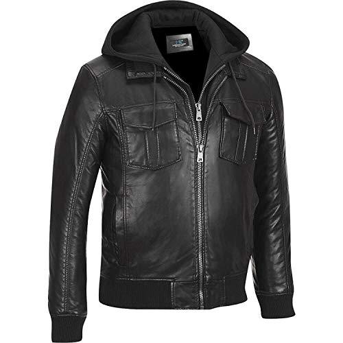 MSR leather Men Hooded Stylish Leather Jacket Zip-Front Bomber Jacket Black