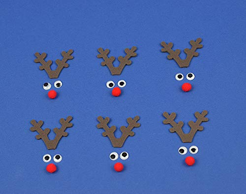 Kit to Make 6 Mini Rudolph Reindeer Faces | Reindeer Christmas Crafts