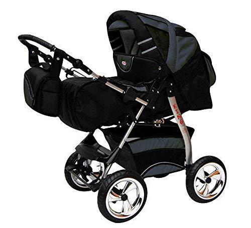 Kinderwagen mit Autositz Isofix alles in einem 3 in 1 Kombikinderwagen King by ChillyKids Cosmic Black & Palladium 3in1 mit Autositz
