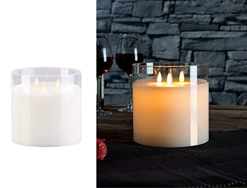 Britesta LED Kerze im Glas groß: LED-Echtwachs-Kerze im Windglas mit 3 beweglichen Flammen, weiß (Dreidochtkerze)