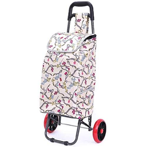ZHANG Trolley Cart For Women 2-wheel Shopping Grocery Luggage Bag Trolley Trailer Portable Foldable Strong Waterproof Durable