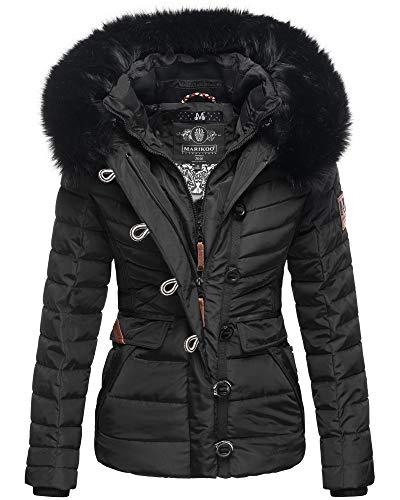Marikoo Damen Winter Jacke Herbst Stepp Kurz Parka warm gefüttert 6 Farben XS - XXL Yunaa (S, Schwarz)