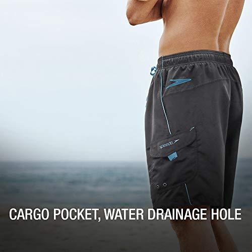 Speedo Men's Swim Trunk Knee Length Marina Volley, Grey/Blue, Large