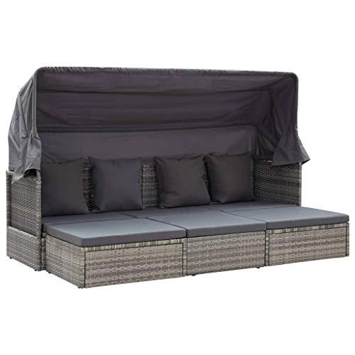vidaXL Gartenbett mit Dach Sonnenliege Gartenliege Sofa Lounge Gartenmöbel Liege Gartensofa Hocker Tisch Gemischt Grau 200x60x124cm Poly Rattan