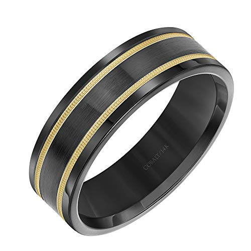 Cobalt Wedding Band with Double 14K Yellow Gold Stripes