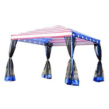 Outsunny 10' x 10' Pop-Up Canopy Party Tent with Mesh Walls - American Flag