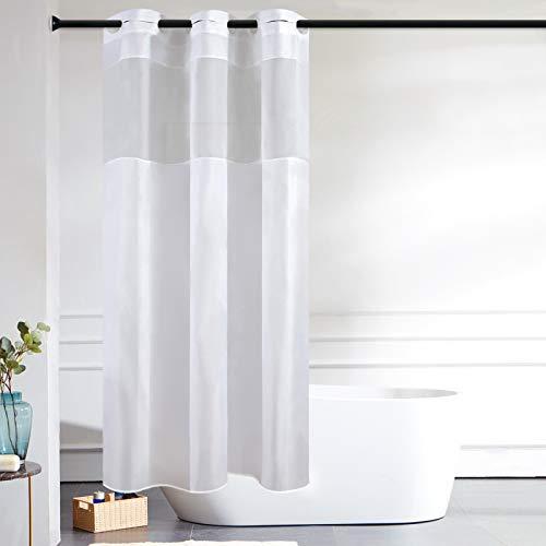 Furlinic Schmaler Duschvorhang für Eck Dusche Kleine Badewanne Badvorhang mit Gazefenster aus Stoff...