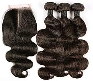 blisshair Extensiones de tejido de cabello humano de 8 pulgadas pelo brasileño peluca 3 paquetes Trame + 1 cierre
