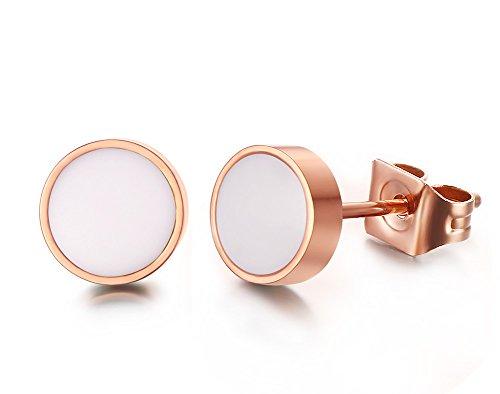 Vnox Acciaio inossidabile rotonda smalto bianco della ragazza delle donne Orecchini in oro rosa