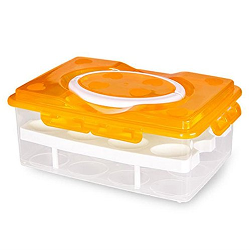 Display08 double couches 24 Grilles support pour œufs Boîte hermétique étui de rangement, Orange, 9.84\