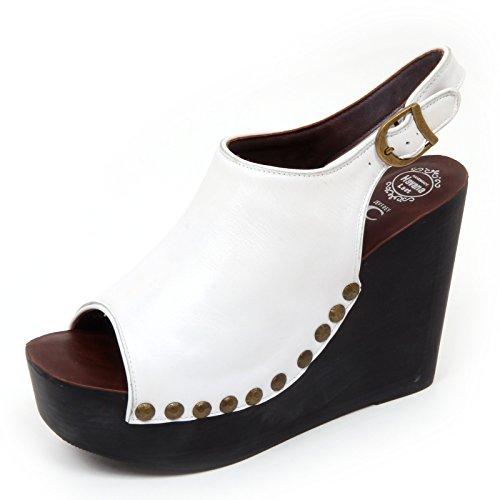 Jeffrey Campbell D2186 Sandalo Donna Snick Scarpe Zeppa Bianco Shoe Woman [40]