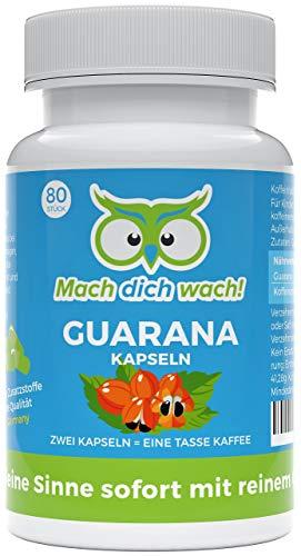 Guarana Kapseln ohne Zusatzstoffe - Qualität aus Deutschland - 50mg Koffein pro Kapsel - deutsche Laboranalytik - kleine Kapseln statt große Tabletten - veganes Guarana Pulver - Mach dich wach!®