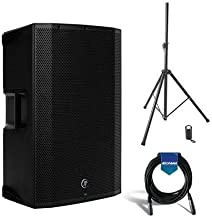Mackie THUMP15A 15in 1300W Active Powered Loudspeaker with 2-Channel Mixer, 32Hz-23kHz Frequency Response - BUNDLE with 20' Heavy Duty 7mm Rubber XLR Mic Cable, On-Stage All-Steel Speaker Stand