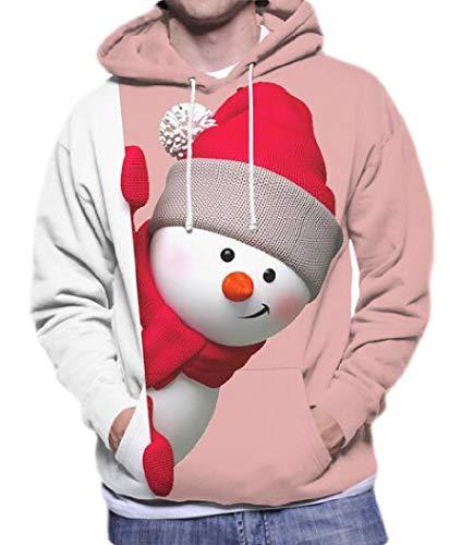 H&E - Sudadera con Capucha para Hombre, diseño de muñeco de Nieve Rosa Rosa M