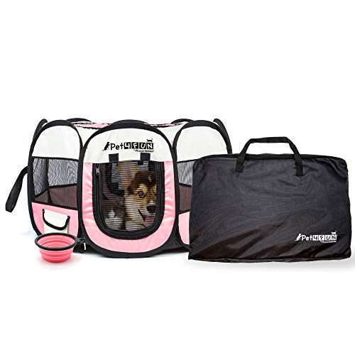 PET4FUN PN935 35 Portable Pet Puppy Dog Cat Animal Playpen Yard Crates Kennel w/ Premium 600D Oxford Cloth, Tool-Free Setup, Carry Bag, Removable Security Mesh Cover/Shade, 2 Storage Pockets(Pink)