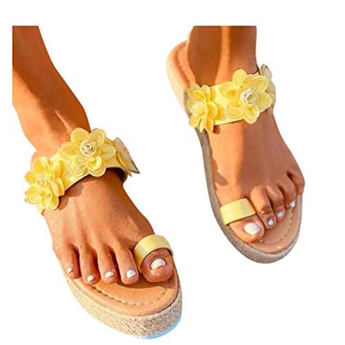 Reokoou Sandals for Women Slide On Espadrille Platform Comfort Sandal Ring Toe Flip Flops Boho Slippers Beach Shoes