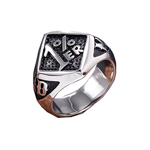 TnSok Simple Titanium Steel Stainless Steel Finger Metal Men's Punk Rock Ring Handsome Ring (Color : Silver, Size : 8)