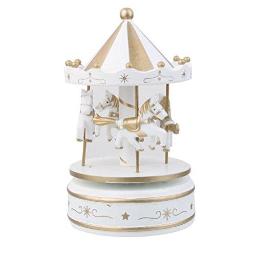 OULII Manège en bois carrousel liquidation boîte à musique enfants Noël anniversaire Gift(White)