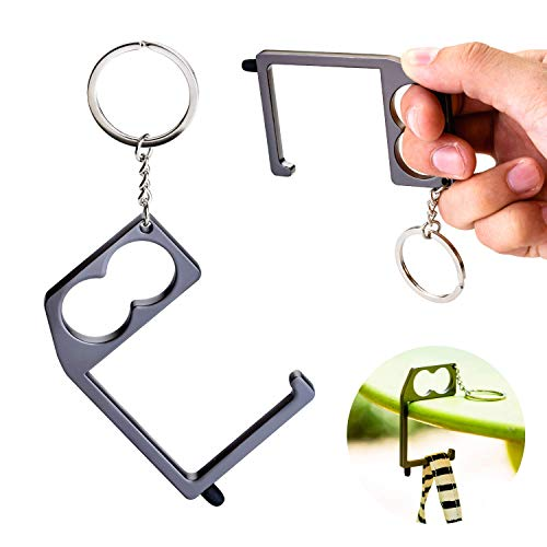 Tidalpool Touchkey - Purse Hook & No Touch Door Opener Tool - Contactless Push Stick & Purse Hanger - Ergonomic Finger & Thumb Support - Touchless Keychain Clean Key Elevator Key with Stylus (2 Pack)