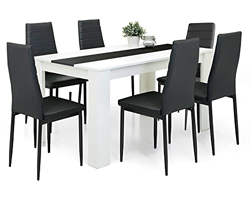 Dining Table And Chairs Set 6 Black Pu Leather High Back Padded Chairs With 16mm Thick Table Top 140x80cm Long White Wooden Dining Table Modern Design Dining Room Sets Home Kitchen Furniture