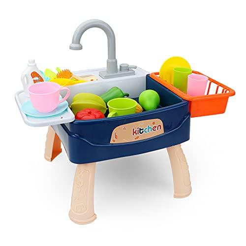 shhjjyp Fregadero ElectróNico De Cocina Conjunto De Juguete para Lavar Platos Accesorio De Cocinita Infantil con Patas De Mesa Juegos De ImitacióN para NiñOs Y NiñAs,Azul