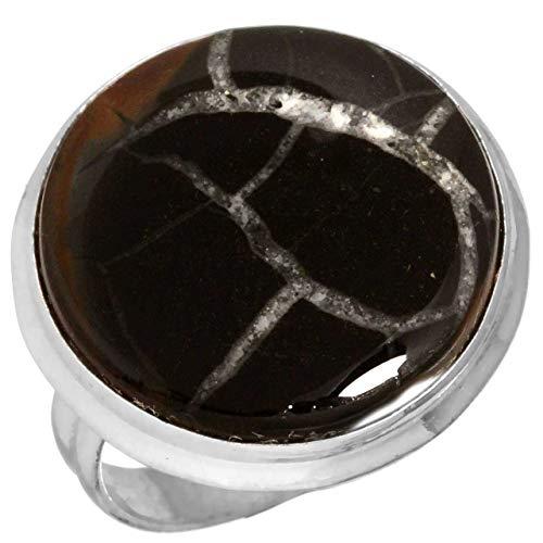 Jeweloporium Solide 925 Sterling Silber Ring Natürlich Septarian Gonaden Edelstein Schmuck Größe 52 (16.6)