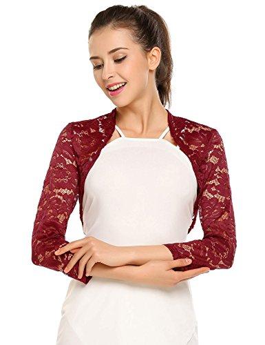 Zeagoo Women's 3 4 Sleeve Bolero Shrugs Crochet Lace Open Cardigan,Wine Red,Large