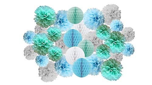 Matissa Pack de 30 pompones de papel y bolas de panal de abeja para cumpleaños, boda, Navidad, decoración de fiesta escolar (tono azul claro)