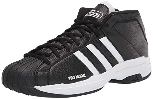 adidas Pro Model 2G Basketball Shoe, Black/White/Black, 10