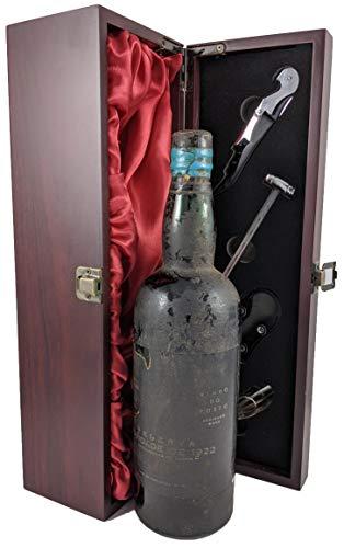 Burmester Reserva Novidade Colheita Vintage Port 1922 en una caja de regalo forrada de seda con cuatro accesorios de vino, 1 x 750ml