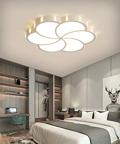 LED Luz de techo Regulable con control remoto Moderno Blanco Metal Redondo Flor Diseño Plafones Para Dormitorio Sala de estar Cocina Comedor Cuarto de niños Balcon Loft Iluminación del panel, D42CM