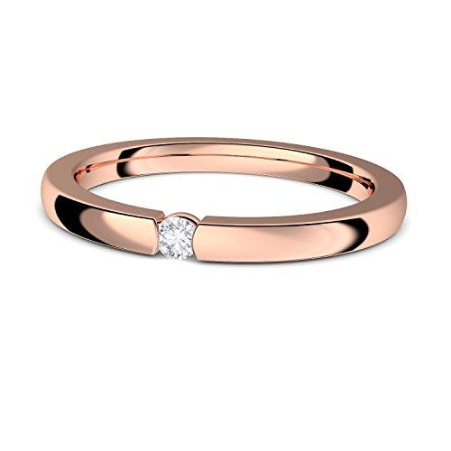 Spannring Rosegold (Silber 925 hochwertig vergoldet) Verlobungsring von AMOONIC mit Zirkonia Stein & LUXUSETUI Rosegold Ring Zirkonia Goldring Heiratsantrag Liebesgeschenk FF584VGRSZIFA54