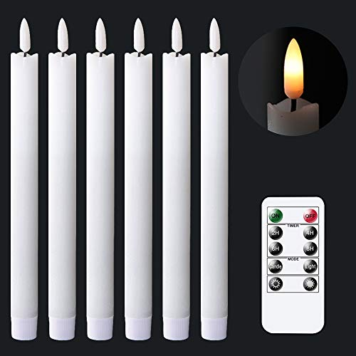 GenSwin Flameless White Taper Candles Flickering with 10-Key Remote, Battery Operated Led Warm 3D Wick Light Window Candles Real Wax Pack of 6, Christmas Home Wedding Decor(0.78 X 9.64 Inch)