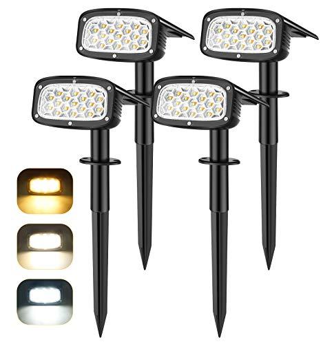 Lámpara solar para exteriores, ElectriBrite 34 LED, 3 modos de luz y ajuste automático de luminosidad, IP67 resistente al agua, foco solar con estaca para jardín, arbustos, 4 unidades