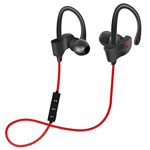 TORENG Auricular Bluetooth, impermeable, reducción de ruido, Touch 5.0, compatible con dispositivos iOS y Android, teléfonos móviles, ordenadores, tabletas (color: rojo)