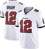 GBY Tampa Bay 12# Jersey de Broderie Blanc de Football américain Brady, Gilet de compétition, Costume d'entraînement Respirant en Polyester (S-3XL) White-M