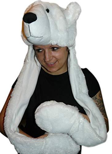 Eisbär-Mütze für Kostüm, F54A, Eisbärmützen Eisbären-Zubehör Faschingskostüm, Fasching Karneval Fasnacht, Karnevals-Kostüme Männer u. Frauen, Faschings- Fasnachts- Tier-Kostüme, Geburtstags- Weihnachts-Geschenk