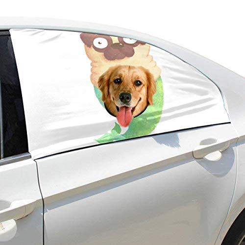 Lustiger Hund Mit Meerjungfrau Schwanz Faltbarer Hund Sicherheit Auto Gedruckt Fenster Zaun Vorhang Barrieren Beschützer Für Baby Kind Einstellbare Flexible Sonnenschutzabdeckung Universal Für Suv