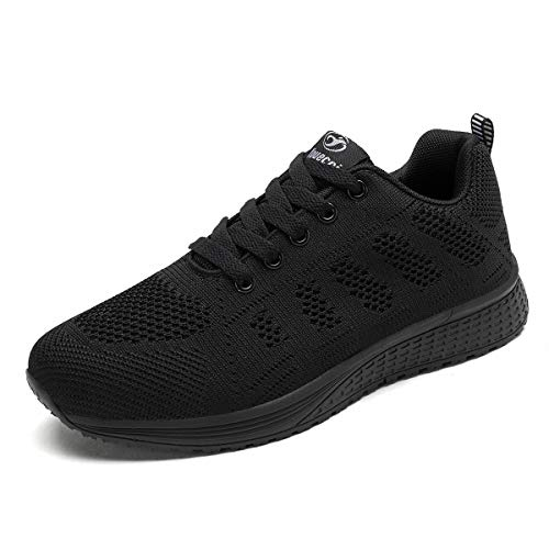 Decai Zapatillas de Deportivos de Running para Mujer Deportivo de Exterior Interior Gimnasia Ligero Sneakers Fitness Atlético Caminar Zapatos Transpirable Negro 37 EU