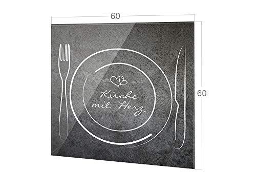 GRAZDesign Küchenspiegel Spruch Küche mit Herz, Küche Glasrückwand Besteck, Küchenrückwand Glas / 60x60cm