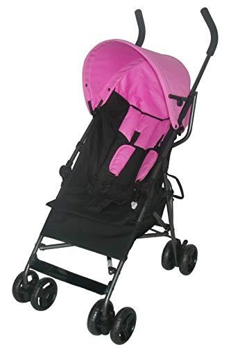 Bebies First multi Buggy mit Einkaufskorb und Sonnenschirm (schwarz rosa)