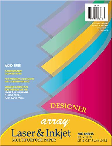 Pacon 101346 Array Colored Bond Paper, 24lb, 8-1/2 x 11, Assorted Designer Colors, 500 per Ream