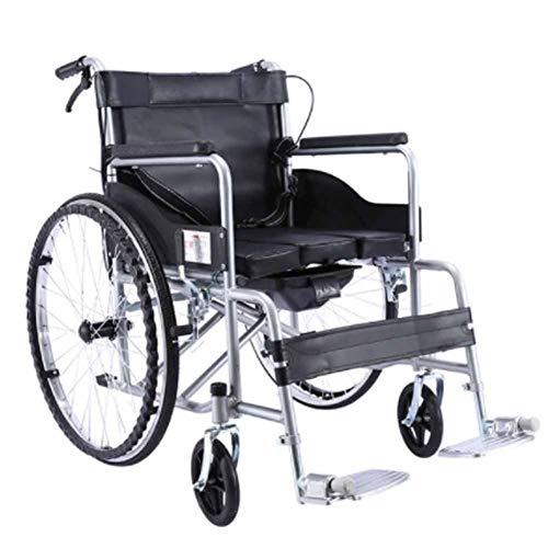 QWD Silla de Ruedas manualmente, portátil y liviano de la Mano Trasera del Asiento Trasero del Asiento de la Mano Trasera Bolsa de Almacenamiento Trasero Llantas Carro de Inodoro para los Ancianos