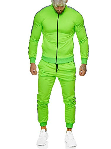 Code47 | Herren Trainingsanzug | Jogginganzug | Sportanzug | Jogging Anzug | Hoodie-Sporthose | Jogging-Anzug | Trainings-Anzug | Jogging-Hose | Modell JG-1068 Neon-Grün M