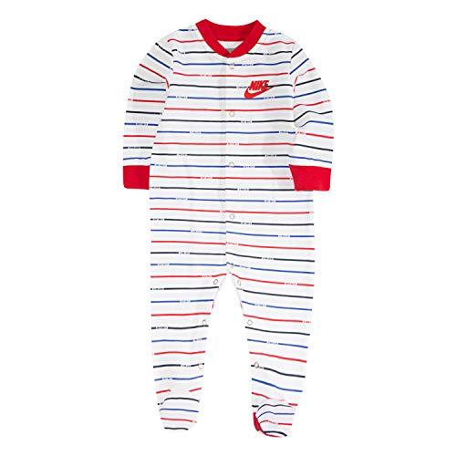 Nike Baby Graphic Footed Coverall, White/Red Stripe, 3M