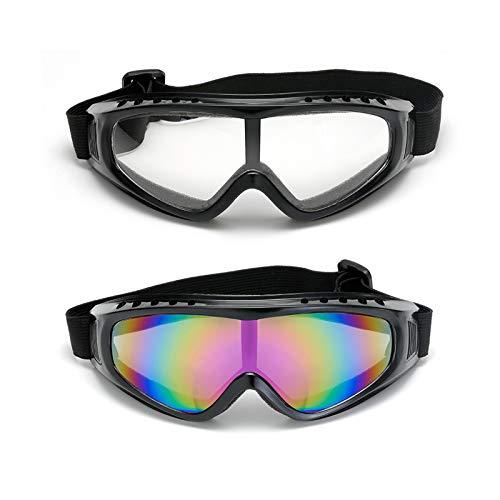 XGzhsa Gafas de esquí, Gafas de Moto, Paquete de 2 Gafas de esquí a Prueba de Viento para Hombres, Mujeres, jóvenes, Gafas Deportivas al Aire Libre, Ideales para Ciclismo, Motocicleta