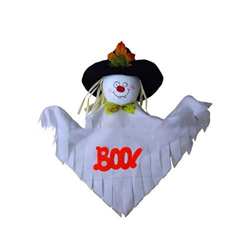 VIGE Halloween Appeso Fantasma Windsock Spook Fly Strega Bambola Spaventapasseri Decorazione per Feste Festa Patio Giardino Giardino Bianco Bambola Fa