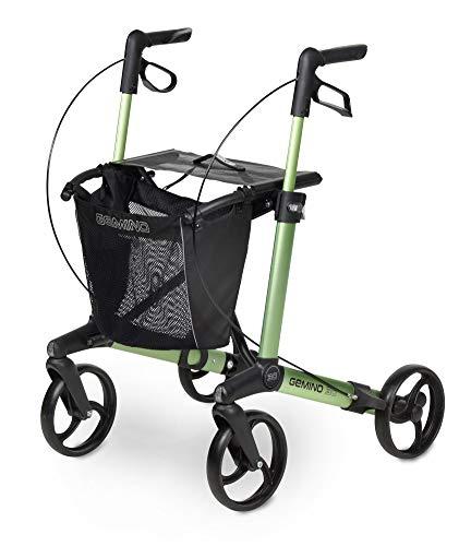 Sunrise Medical Leichtgewichtsrollator Gemino 30, max. 150 kg, zusammenfaltbar bei wenig Kraftaufwand I mit festen Unterarmauflagen und Softrädern, Sitzhöhe 62 cm Farbe: apfelgrün