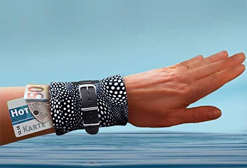 Schicke schwarz weiße Armbandtasche FÜRS WASSER mit Band – praktische mini Tasche fürs Handgelenk beim Schwimmen Reisen Urlaub Traveln - Geldbörse diebstahlsicher Portemonnaie Armtasche JUSCHU-BAG