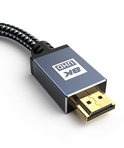 8K HDMI Kabel 2M -Sweguard HDMI 2.1 Kabel 8K@60HZ & 4K@120HZ Highspeed 48Gbps 2.1 HDMI Ethernet Kabel mit eARC ARC HDR 3D HDCP 2.3 kompatibles PS5, PS4,HDTV,PC,Xbox,Monitor, Projektor-Grau (Grau)